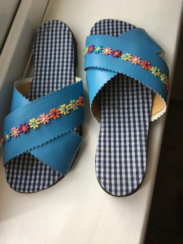 Recycled shirt sandals