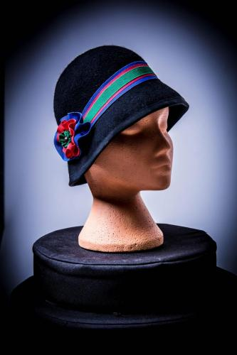cloche with ribbon trim